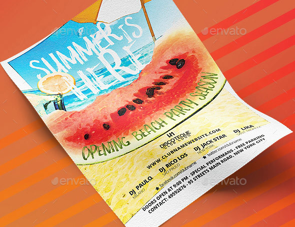 19 cool watercolor flyer templates desiznworld