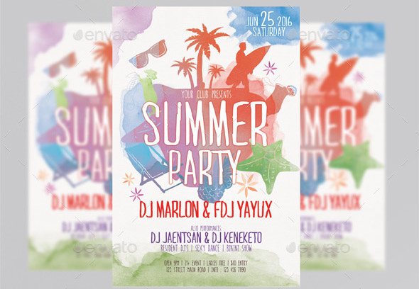 Summer Party Watercolor Style Flyer