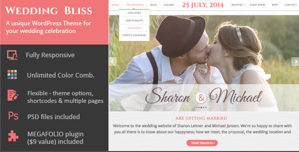 Wedding Bliss a Unique Wedding WP Theme