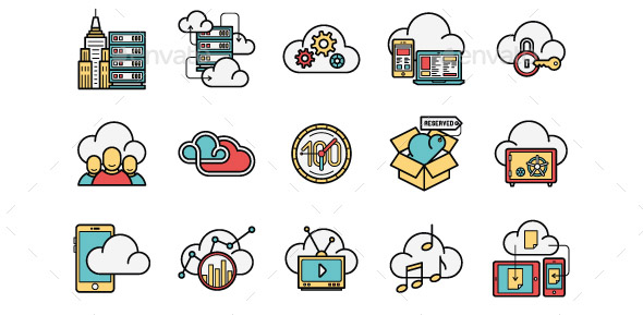 cloud-services-line-and-color-icons