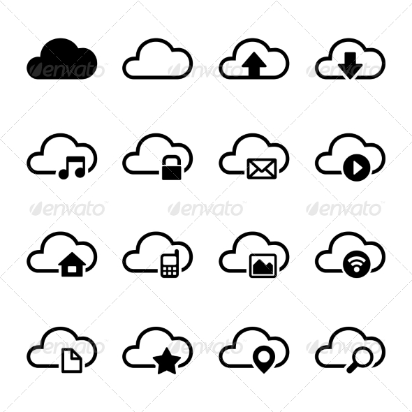 cloud-storage-icons-set