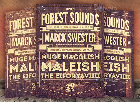forest-sounds-typography-flyer-poster