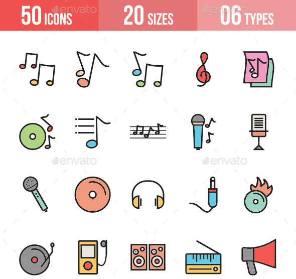 music-filled-line-icons