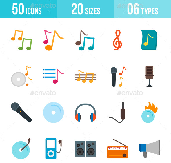 music-flat-multicolor-icons