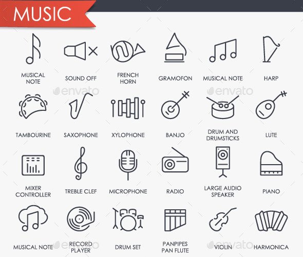 music-thinline-icons