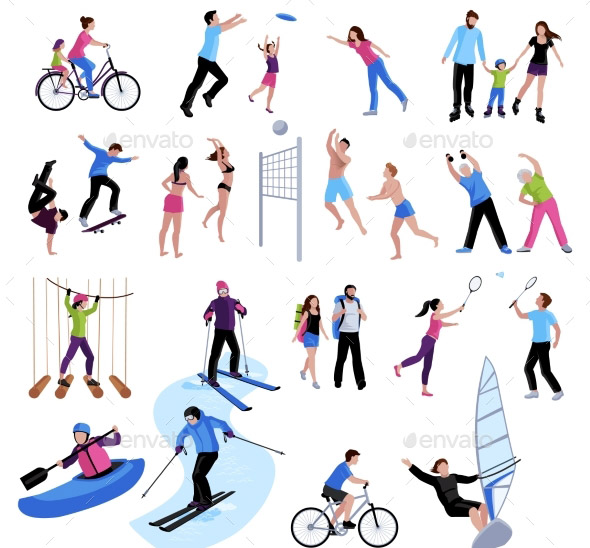 active-leisure-people-icons-set