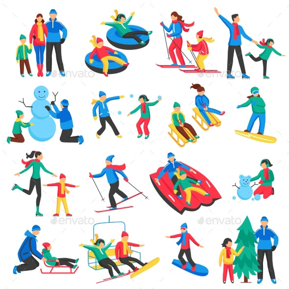family-winter-sports-icons-set