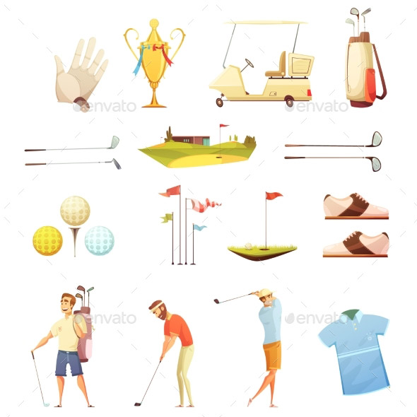 golf-attributes-retro-cartoon-icons-set