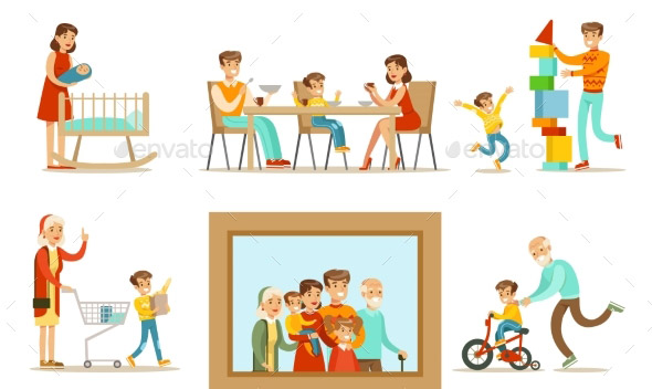 happy-family-doing-things-together-illustration