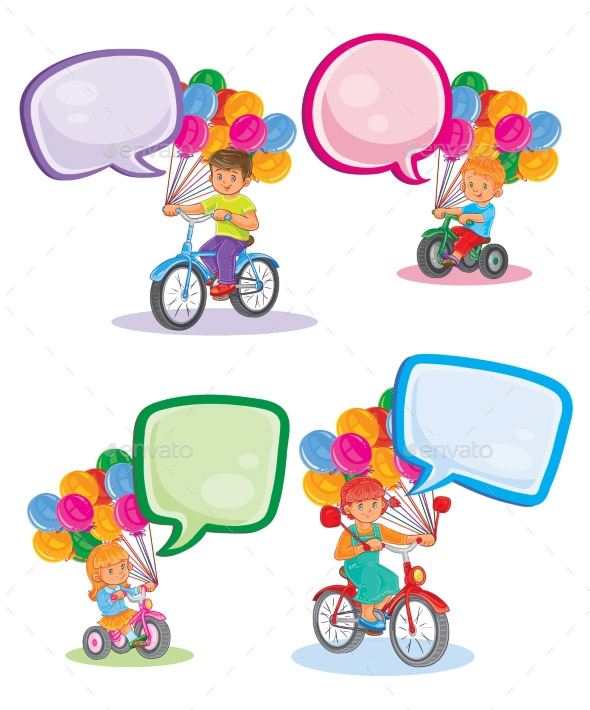 set-icons-small-children-on-bicycles