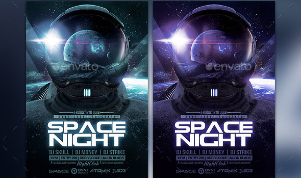 space-night-flyer-template