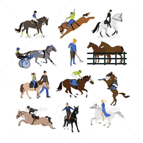 vector-set-of-horse-riders-icons