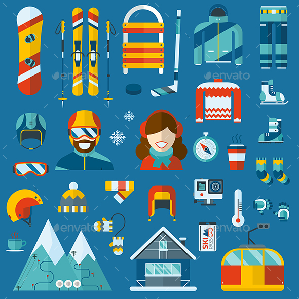 Winter sports and activity pictogram collection. Outdoor winter travel flat icons. Snow games vecto elements. Ski resort and winter holidays. Snowboarder man and woman.