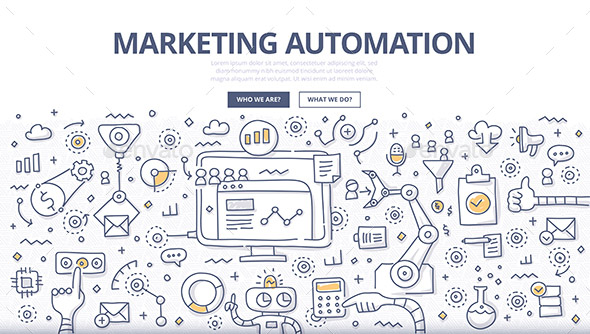 Doodle vector illustration of automating and measuring marketing tasks and workflows to increase company efficiency and connect with potential clients.