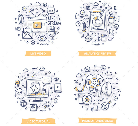 Doodle illustrations of online video, video marketing analytics, promotional video and video tutorial. Concepts of video marketing for telling brand story, explaining how-it-works process, showing company features