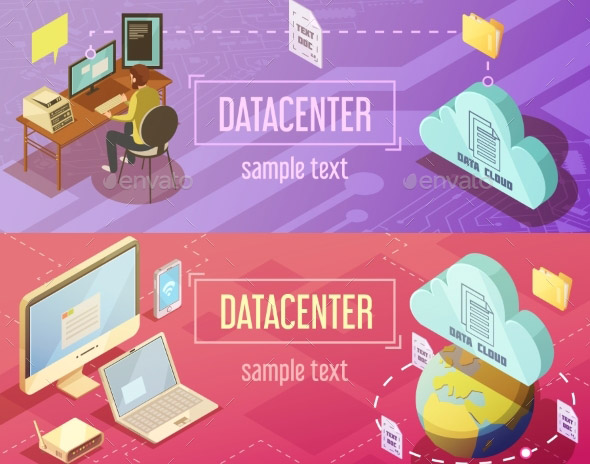 Datacenter Isometric Banners Set