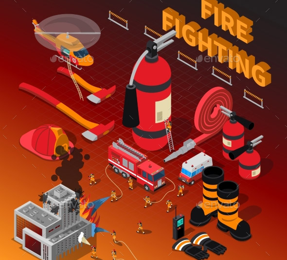 Firefighter Isometric Composition