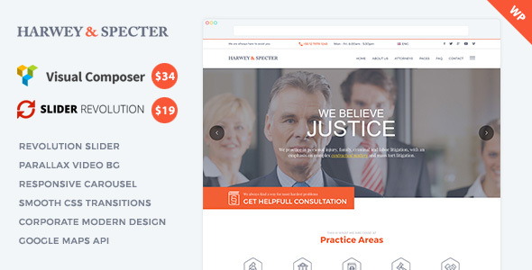 Harvey Specter Law Firm WP Theme