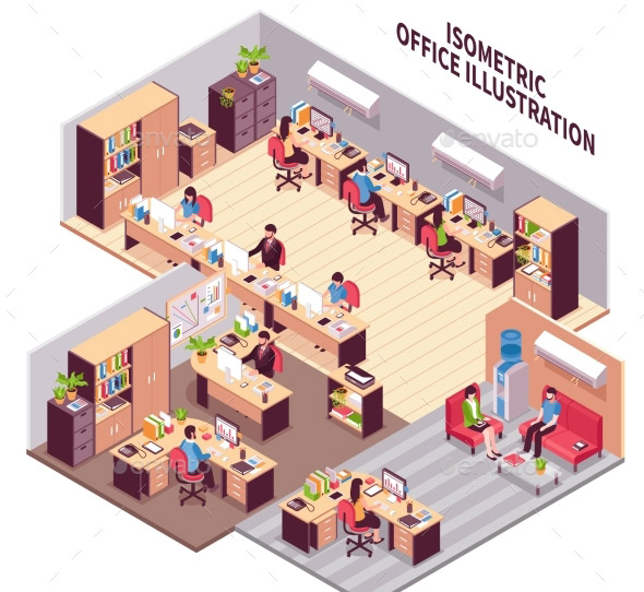 Isometric Office Workplaces Illustration