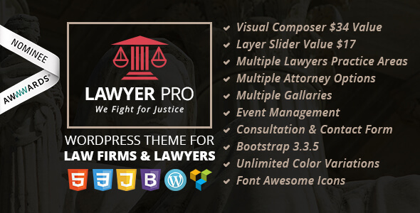 Lawyer Pro Responsive WordPress Theme for Lawyers