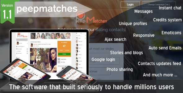 Peepmatches - Advanced php dating and social script