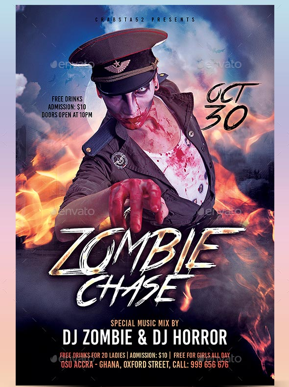 Zombie Flyer Template. Halloween Party Flyer Zombie Party Flyer