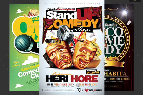 Comedy Flyer Template Bundle 3 In 1